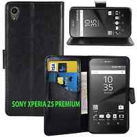 NEW BLACK WALLET LEATHER GEL CASE WITH CARD SLOT FOR SONY XPERIA Z5 PREMIUM UK