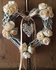 Mimbre Corazón Floral Shabby Chic country farmhouse champán Rosas,
