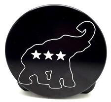 "Republican Logo, Aluminum Trailer Hitch Cover, Black,   5"" Round"