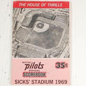Seattle Pilots 1969 Official Scorebook Signed 3 Autographs Sick's Stadium