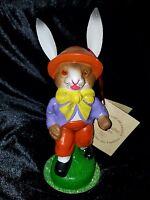 VINTAGE Ino Schaller Walking Easter Bunny Rabbit Bow Tie German Paper Mache