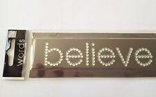 Rhinestone word sticker - Me & My Big Ideas - Silver believe RW-54