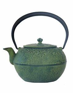 VINTAGE Japanese Tetsubin Cast Iron Teapot Lichen Green Maple Leaf NEVER USED