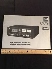 """Dual C819 Cassette Deck """"Original"""" Owners Manual 6 Pages With Schematic  A16"""