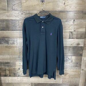 Polo Ralph Lauren Men's Long Sleeve Polo Rugby Shirt Size XL Black 100% Cotton