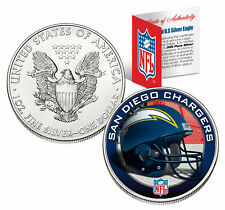 SAN DIEGO CHARGERS 1 Oz American Silver Eagle $1 U.S. NFL COIN! COA & STAND!