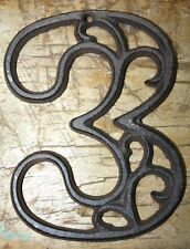 Rustic BROWN Cast Iron Metal House Number Street Address 4 1/2 INCH Phone # 3