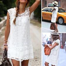 Womens Sleeveless Lace Vest Dress Plus Size Summer Mini Shift Dress Sundress FW