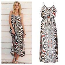 "Kaleidoscope Size 16 18 Simply Fab Ruffle  Bodice Print Summer 55""  MAXI DRESS"
