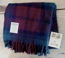 """Faribo Wool Plaid Stadium Picnic Blanket Throw NEW 52"""" x 52"""". In carrying case"""