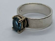 James Avery Sterling Silver 14k Yellow Gold Julietta Ring Blue Topaz Size 7