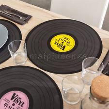 """Set 4 Tovaglietta da tavola """"Disco LP vinile"""" 39 cm 4 Colori Sottopiatto musica"""