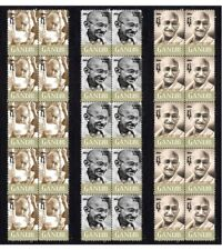 GHANDI, SET OF 3 20th CENT' ICONS MINT VIGNETTE STAMP STRIPS 2