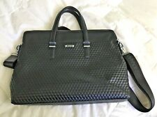 Sammons Medici Black Leather Laptop Briefcase Business Bag Tote Messenger-UNISEX