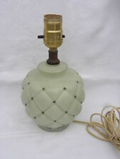 Vintage Reverse Painted Mint Green Satin Glass Table Lamp w/Puffy Quilt Pattern