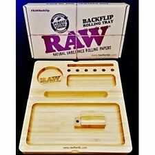 Raw Bamboo Wooden Magnetic Backflip Smoking Rolling Tray Box Grinder Scoop
