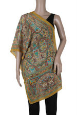 "Indian Art Silk Printed Stole Scarf Scrave Viel Wrap 20"" x 70"" Crepe Fabric Gree"