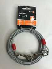 20ft Heavy Duty Dog Tie Out Cable Leash Pet Steel Wire Leads for Garden Camping