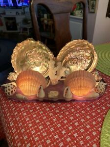Fabulous Vintage Abalone Shells TV Lamp Coral Snail Shells - WORKS!!