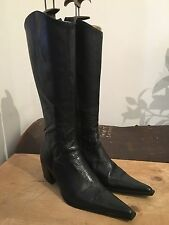 Women's Black Soft Leather Pointed Toe Western Knee High Boots UK 5 EU 38