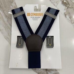 Baby Boys Gymboree Suspenders 0-24 Mo Navy Blue Denim Chambray