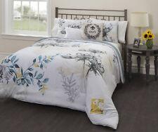 Black White Grey Yellow Blue Floral Paris 5 piece Comforter Set Full Size