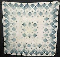 Vintage Silk Blend Scarf Diamond Geometric Bold Statement White Blue/Gray 30x30