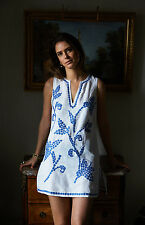 Tory Burch Talisay Embroidered Tunic Dress Caftan Cover Up Linen Swim XL 12 14