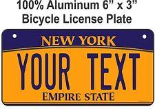 BIKE PLATE - CUSTOM BICYCLE MINI STATE LICENSE PLATE-NEW YORK- personalized