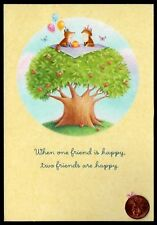Hallmark  Card Foxes Party Cake Tree Butterfly - Birthday Greeting Card - NEW