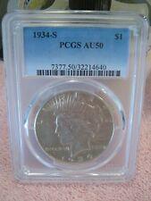 "1934 S Peace Dollar  ""PCGS AU50"", Key Date, & graded w/holder."