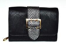PORTAFOGLIO NERO donna fibbia oro borsello a mano portamonete clutch wallet G1
