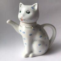 Vintage Kitty Lucky Cat Porcelain Blue White Floral Hand Painted Creamer/Tea Pot