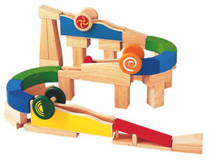 NEW PlanToys Wooden Build N Spin creative rolling ramp run and blocks set
