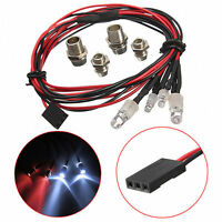 Upgrade LED Lights For RC Model Car White Headlamps Headlights & Rear Red Light