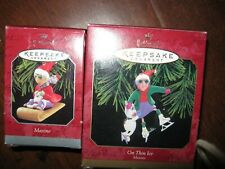 "Hallmark Keepsake Ornaments ""Maxine"" & On Thin Ice 1998 & 1999 Nib"