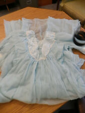 Vintage two piece night gown set blue nylon by Lady Lovely size M