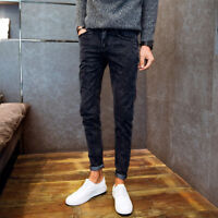 Men Casual Trousers Denim Jeans Slim Fit Skinny Fashion Casual Long Pencil Pants