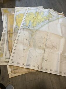 Rare Lot Of 15 Department Of Commerce Nautical Maps NC Outer Banks 60's-70's