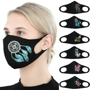 Partial Drill Colorful Beads Masks Reusable Adult Cartoon Pattern Art Face Cover