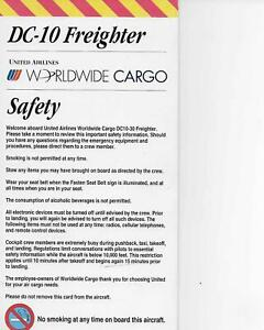 United Air Lines DC-10 Cargo Freighter Safety Card/ NOS