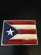 Puerto Rican Flag Belt Buckle Red White and Blue USA Star