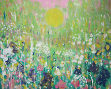 GOLD LIGHT IN THE WILD Flower Meadow: grandi pittura ad olio su tela da JENNY LEPRE
