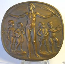 RARE LARGE EUROPEAN MUSICAL AWARD BRONZE MEDAL BY SCHWARTZ STEFAN / NUDE ART