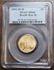 1991-1995-W $5 Gold World War II, PCGS MS-69, WWII