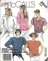 2945 UNCUT Vintage McCalls Sewing Pattern Misses Easy Tops Back Band Tie OOP SEW