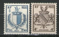 TIMBRE N° 734-735 NEUF * * GOMME ORIGINALE - ARMOIRIES DE STRASBOURG ET METZ