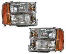 07 08 09 10 11 12 13 14 GMC Sierra Left&Right Headlight Headlamp Light Lamp Pair