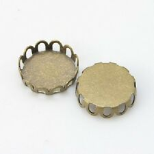 LOT de 20 SUPPORTS CONNECTEURS CABOCHON 10mm BRONZE bijoux perles breloques