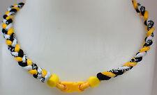 "NEW! 20"" Custom Clasp Braided Sports Black Yellow White Tornado Necklace Pirates"